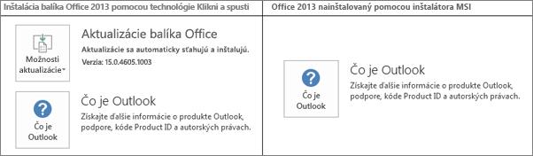 Obrázok zobrazujúci ako rozlíšiť, či sa inštalácia balíka Office 2013 spúšťa pomocou technológie Klikni a spusti alebo inštalátora MSI