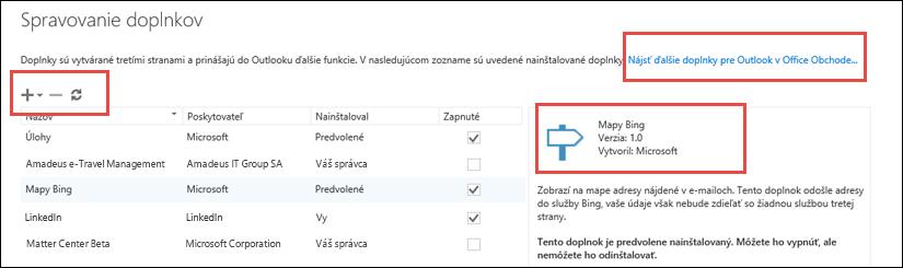 Správa doplnkov v Outlooku