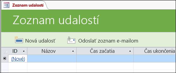 Formulár Zoznam udalostí v šablóne databázy Access Udalosti