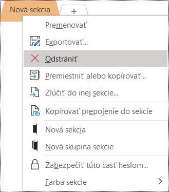 Snímka obrazovky skontextovou ponukou na odstránenie sekcie