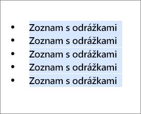 Príklad zoznamu sodrážkami sodrážkami vtvare čiernych krúžkov.