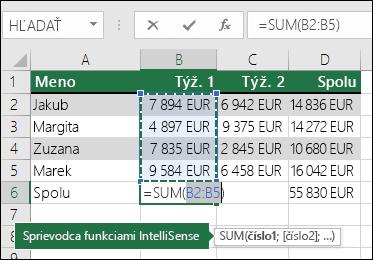 Bunka B6 zobrazí vzorec Automatický súčet a Sum: =SUM(B2:B5)