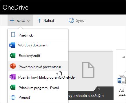 Vytváranie súborov vo OneDrive for Business
