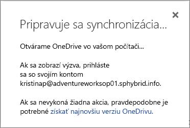 Snímka obrazovky dialógového okna Pripravuje sa synchronizácia pri nastavovaní OneDrivu for Business na synchronizáciu
