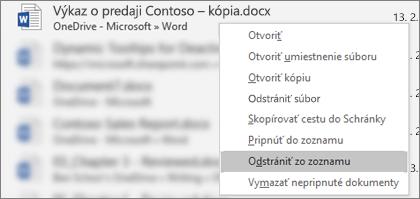 Kontextová ponuka, ktorá sa zobrazí po kliknutí pravým tlačidlom myši na súbor v zozname Naposledy otvorené súbory