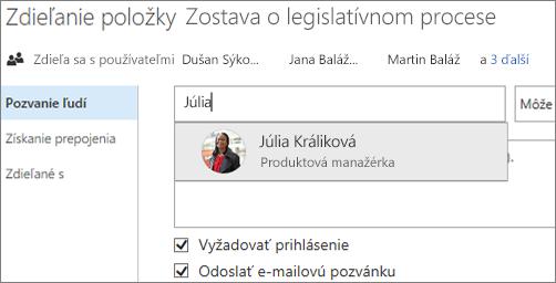 Snímka obrazovky zobrazujúca zdieľanie súboru vo OneDrive for Business
