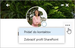 Snímka obrazovky s kurzorom na možnosti Pridať do kontaktov v ponuke Ďalšie akcie.