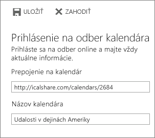 Prepojenie na online kalendár