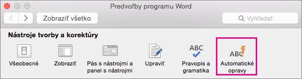 V časti Predvoľby programu Word kliknite na položku Automatické opravy a zmeňte v dokumente to, čo bolo prostredníctvom automatických opráv zmenené.