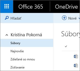Snímka obrazovky zobrazenia Súbory vo OneDrive for Business