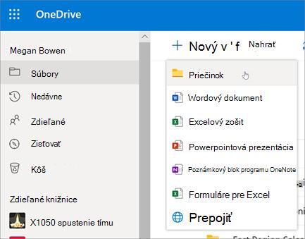 Vytvorenie priečinka vo OneDrive
