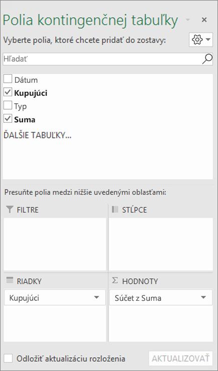 Zoznam polí so zobrazením sekcií polí a oblastí