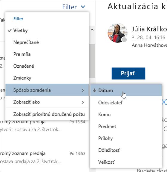 Snímka obrazovky s ponukou Filter a vybratou položkou Spôsob zoradenia