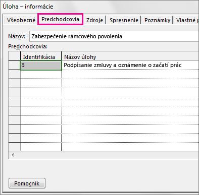 Karta Predchádzajúca úloha v okne Informácie o úlohe.