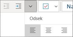 Zarovnanie odsekov doľava v aplikácii OneNote pre Windows 10
