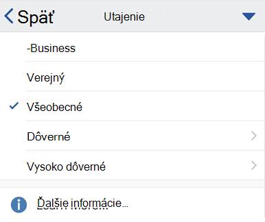 Citlivosť ponuky v systéme iOS s označenia citlivosti zobrazené