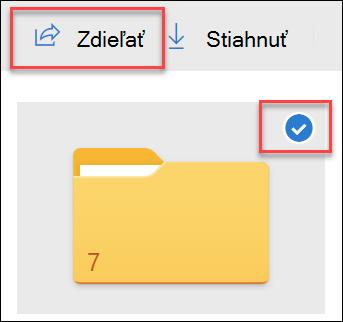 Obrázok priečinka v programe OneDrive a možnosti Zdieľať.