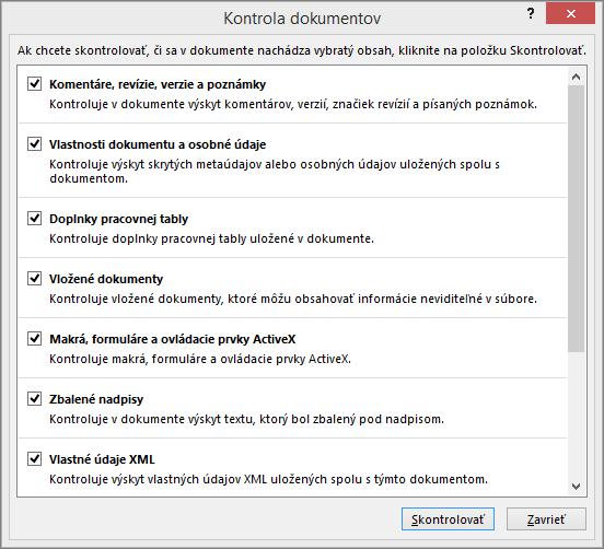 Zobrazenie možností vdialógovom okne Kontrola dokumentov
