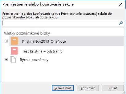 OneNote pre Windows 2016, dialógové okno Presunutie alebo skopírovanie sekcie