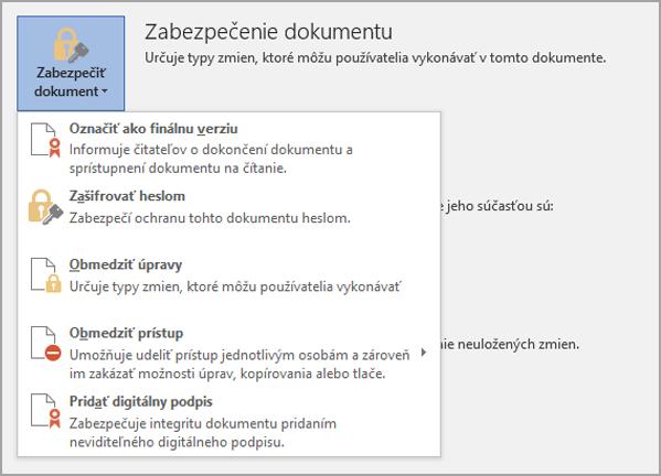 Zabezpečenie dokumentu