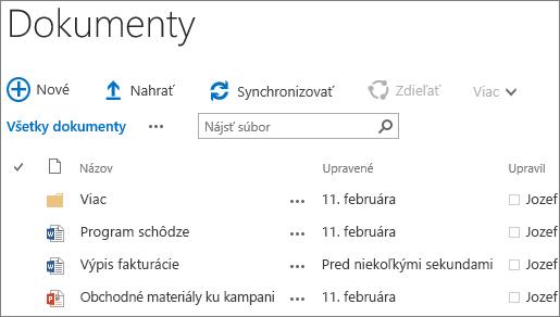 Snímka obrazovky knižnice dokumentov v SharePoint Serveri 2016