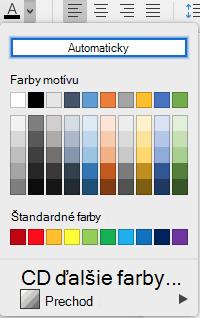 Ponuka výberu farby písma vo Worde pre Mac