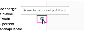 Zobrazenie komentárov vo Worde Online kliknutím