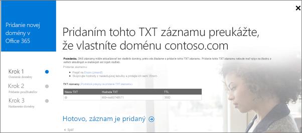 Pridajte TXT záznam na overenie vášho vlastníctva domény.