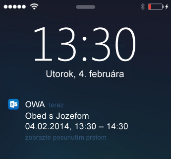 Obrazovka uzamknutia v iPhone zobrazujúca upozornenie na schôdzu zaplikácie OWA for iPhone