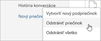 Snímka obrazovky ponuky možnosť odstrániť priečinok