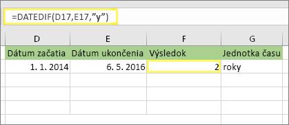 "=DATEDIF(D17;E17;""y"") a výsledok: 2"
