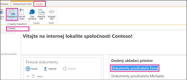 Zvýraznite text apotom kliknite na položky Vložiť, Prepojenie.