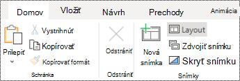 Tlačidlo Rozloženie na páse s nástrojmi na karte Domov v PowerPointe online.