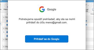 Dialógové okno služby Google s požiadavkou na prihlásenie používateľa
