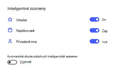 Snímka obrazovky s inteligentnými zoznamami v nastaveniach s dôležitým, plánovaným a priradeným na možnosť zapnuté a automatické skrytie prázdnych inteligentných zoznamov, ktoré sú vypínané.