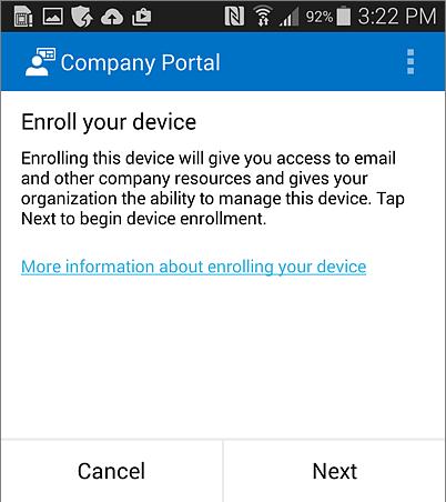 Registrácia aplikácie Company Portal vAndroide