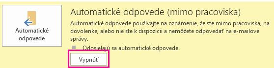 Snímka obrazovky s dialógovým oknom Vypnutie automatických správ v Outlooku