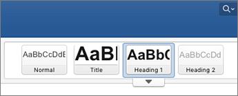 Snímka obrazovky s možnosťami štýlov nadpisov