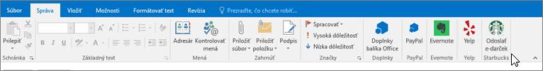 Snímka obrazovky pása s nástrojmi Outlooku so zameraním na kartu Správa, na ktorej kurzor ukazuje na doplnky úplne vľavo. V tomto prípade sú doplnkami Doplnky pre Office, PayPal, Evernote, Yelp a Starbucks.