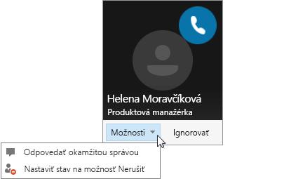 Snímka obrazovky supozornením na hovor aotvorenou ponukou Možnosti.