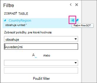 Ikona rozšíreného filtra vo funkcii Power View