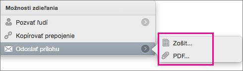Odoslanie tabuľkového hárka ako zošit Excelu alebo súbor PDF