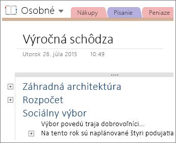 Snímka obrazovky so stranou vo OneNote 2016 shierarchickou štruktúrou.