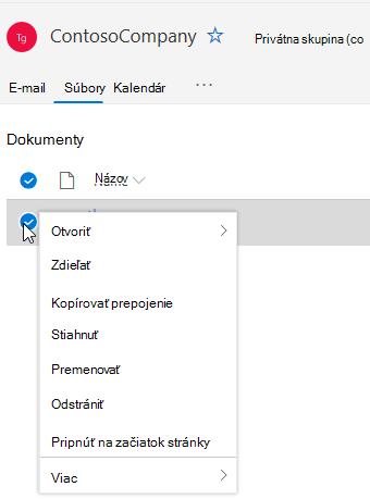 Zobrazenie možností odstránenia a premenovania súboru