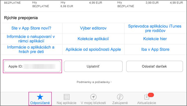 Odporúčaná sekcia obchodu App store
