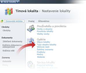 Výber typov obsahu lokality z okna nastavení lokality