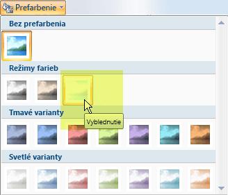 Vyberte tlačidlo Prefarbiť a potom v časti Režimy farieb vyberte možnosť Vyblednutá