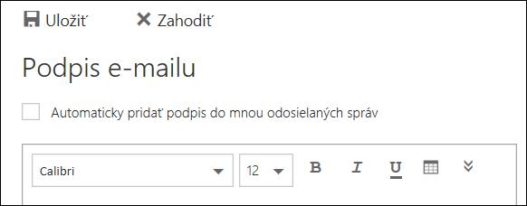 E-mailová správa spodpisom v Outlooku na webe