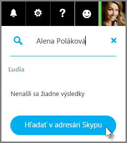 Kliknite na položku Vyhľadávanie vadresári Skype