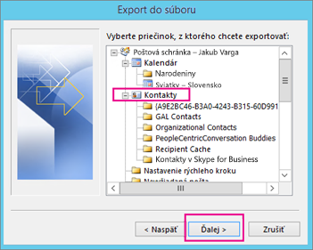 Vyberte priečinok kontaktov na export.
